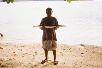 Dinner at the Bible school in Vanuatu, a fresh catch