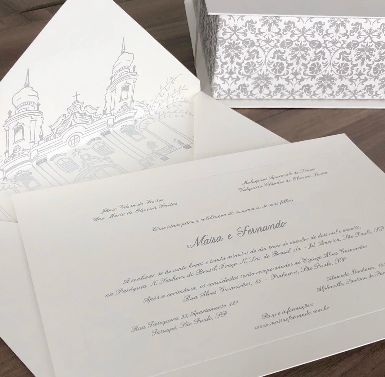 Convite para casamento com lacre de cera