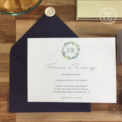 Convite para casamento no campo aqualela lacre de cera