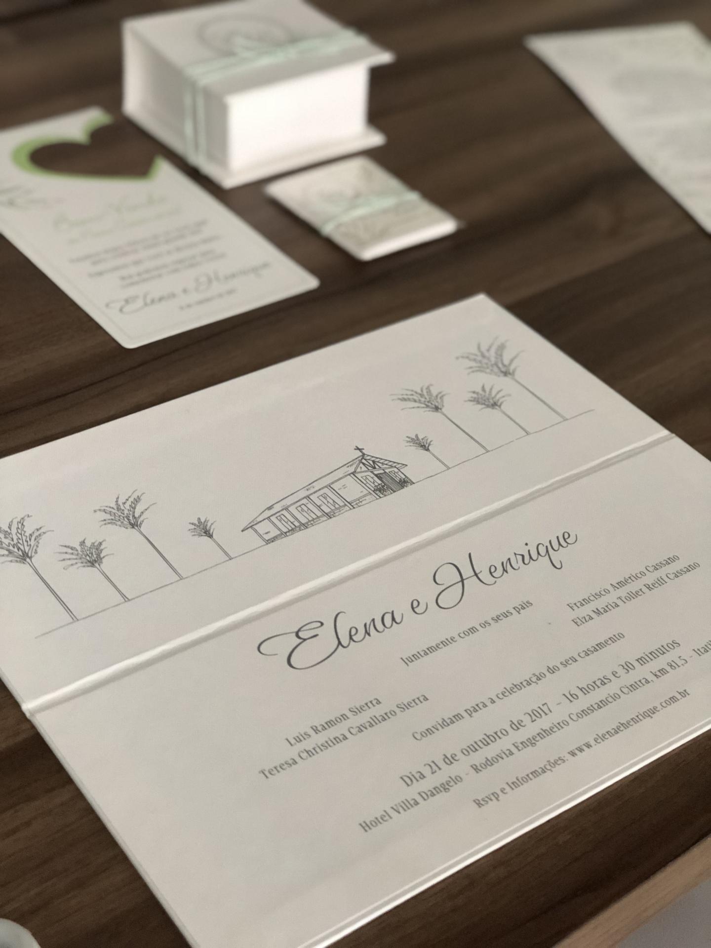 Convite para casamento no campo moderno
