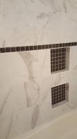 tile shower recessed shelves