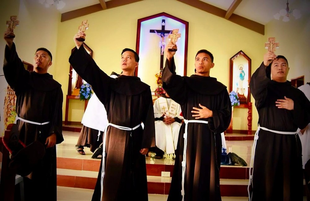 4 FRIARS FROM RAZED FRANCISCAN HOUSE PROFESS VOWS
