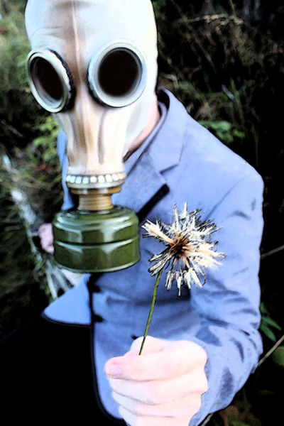 Gas Mask with Flower