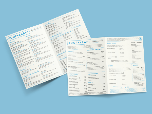 Koop+Kraft menu design