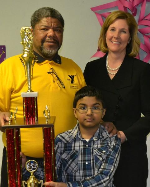 Mayor Anne McCaffrey with Ashton, 2015 NYS Scholastic Champion