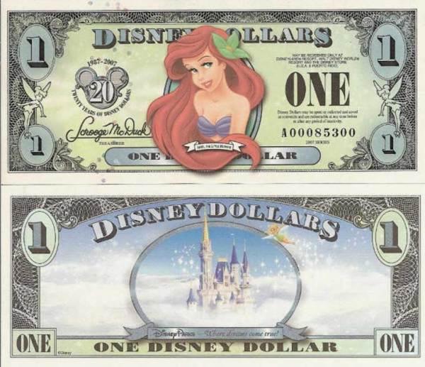 2007 $1 Disney Dollar - Ariel