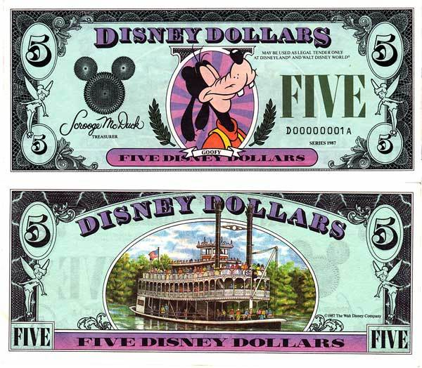 $5 Disney Dollar Series 1988