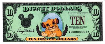 1997 $10 Disney Dollar - Lion King