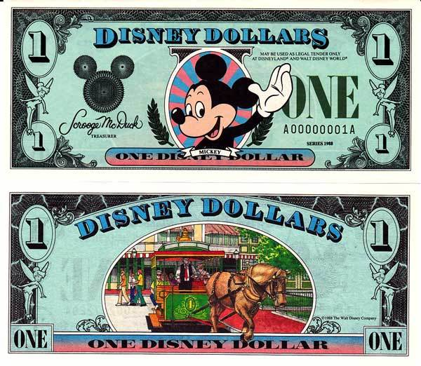 $1 Disney Dollar Series 1988