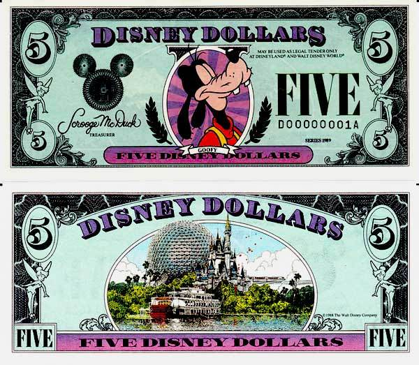 $5 Disney Dollar Series 1989