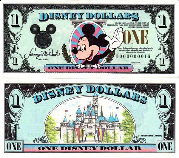 1991 $1 Waving Mickey Disney Dollar