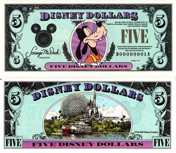 1991 $5 Regal Goofy Disney Dollar