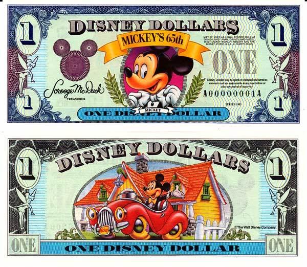 1993 $1 Bowtie Mickey 65th Anniversary Disney Dollar