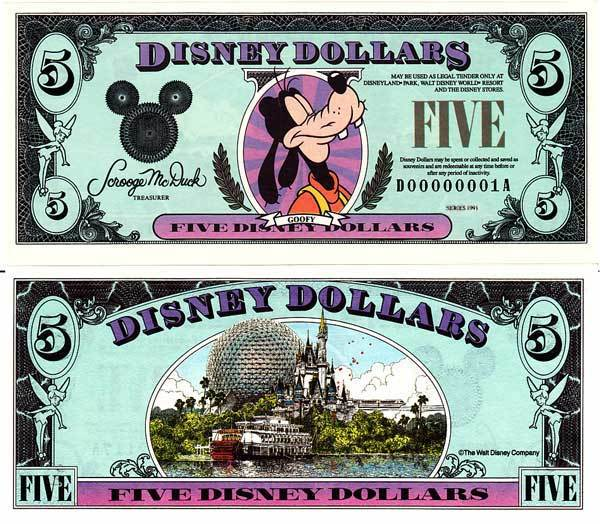 1993 $5 Regal Goofy Disney Dollar