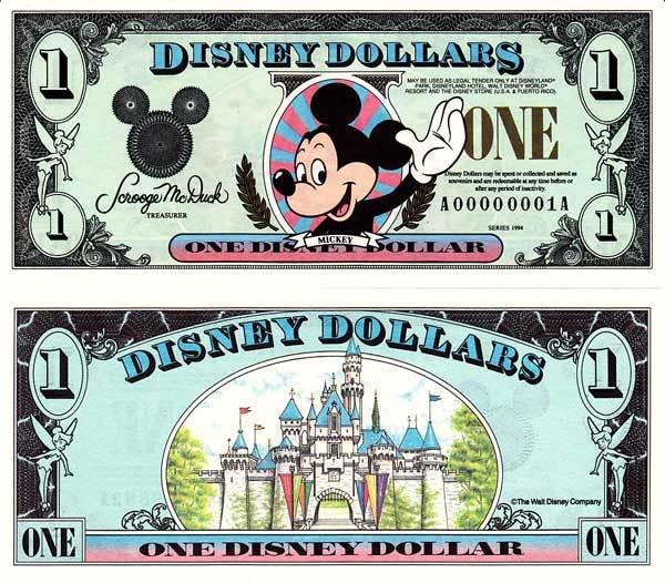 1994 $1 Waving Mickey Mouse Disney Dollar