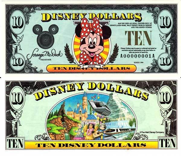 1994 $10 Minnie Mouse Disney Dollar