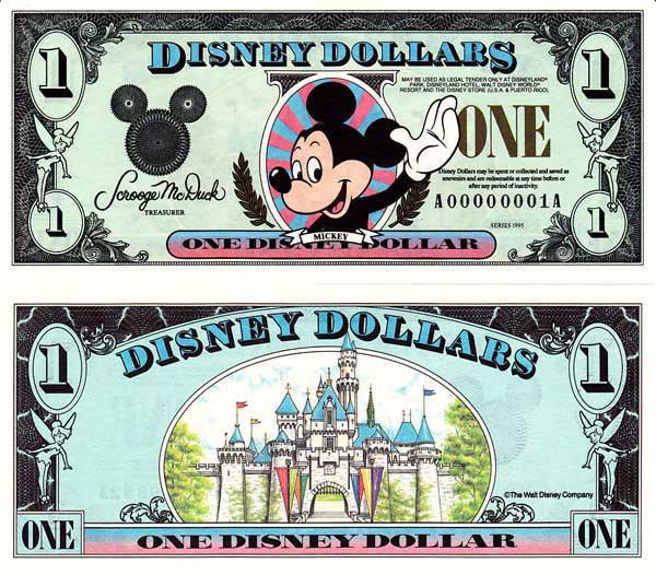 1995 $1 Waving Mickey Mouse Disney Dollar