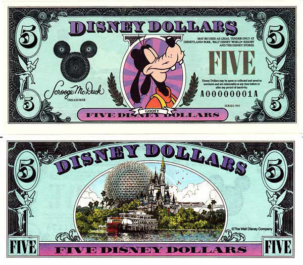 1995 $5 Regal Goofy Disney Dollar
