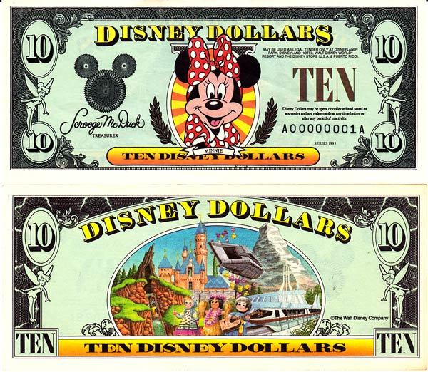 1995 $10 Minnie Mouse Disney Dollar