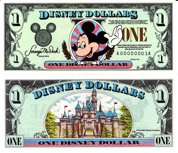 1996 $1 Waving Mickey Mouse Disney Dollar