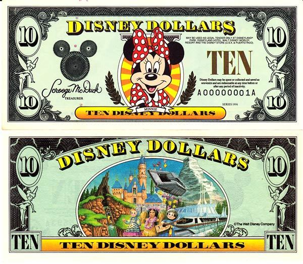 1996 $10 Minnie Mouse Disney Dollar
