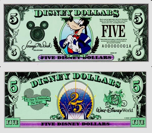 1997 $5 Top Hat Goofy Disney Dollar