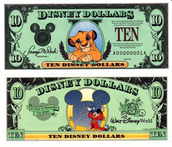 1997 $10 Young Simba - Lion King Disney Dollar