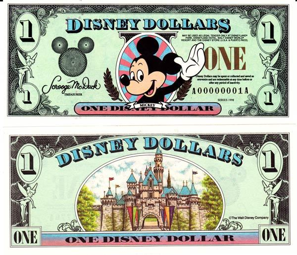 1998 $1 Waving Mickey Mouse Disney Dollar