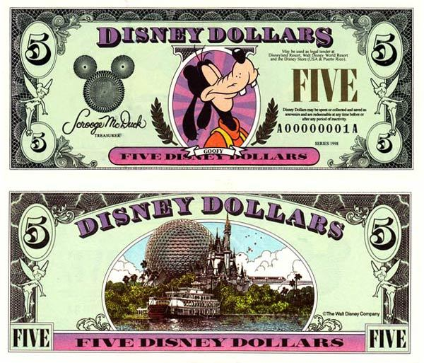 1998 $5 Regal Goofy Disney Dollar