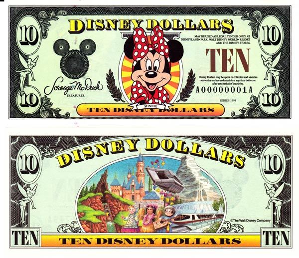 1998 $10 Minnie Mouse Disney Dollar