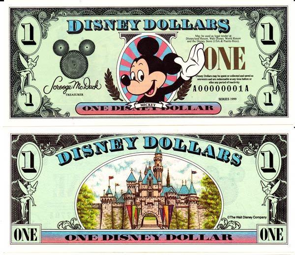 1999 $1 Waving Mickey Mouse Disney Dollar