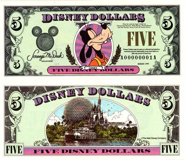 1999 $5 Regal Goofy Disney Dollar
