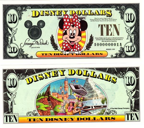 1999 $10 Minnie Mouse Disney Dollar