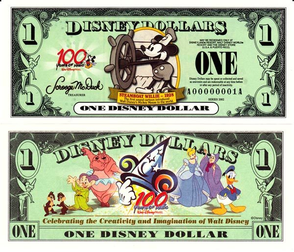 2002 $1 Steamboat Willie - 1928