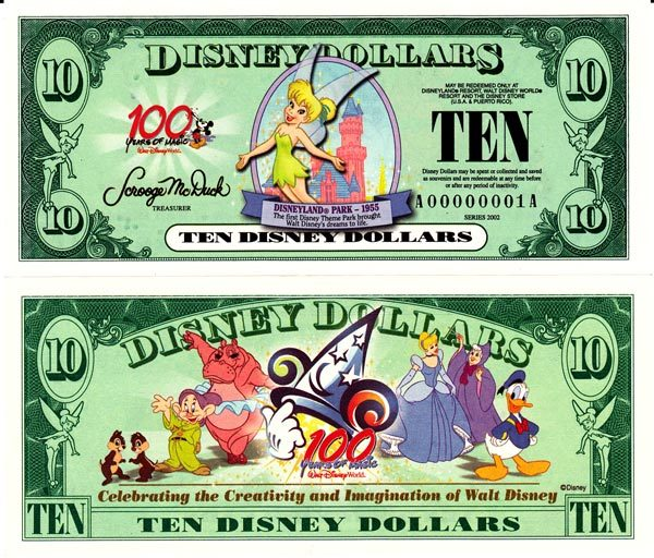 2002 $10 Tinkerbell at Disneyland Park - 1955