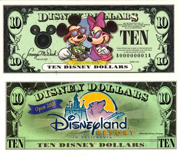 2001 $10 Vacationing Mickey and Minnie Mouse