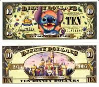 """2005 $10 """"Stitch"""" Disney Dollar"""