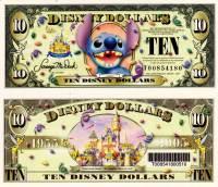 "2005 $10 ""Stitch"" Disney Dollar with Barcode"
