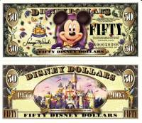 "2005 $50 ""Tuxedo Mickey Mouse"" Disney Dollar"