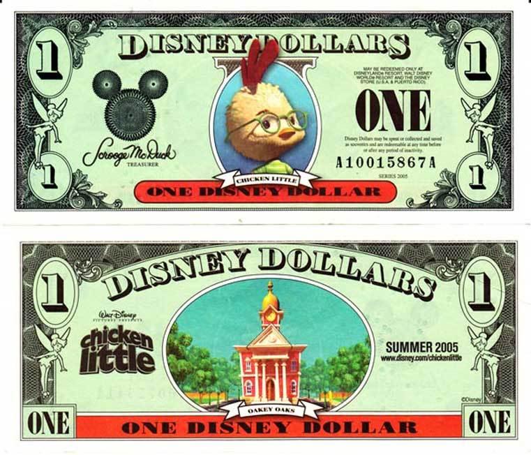 2005 Chicken Little Disney Dollar