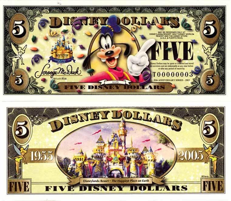 2006 $5 Goofy Disney Dollar