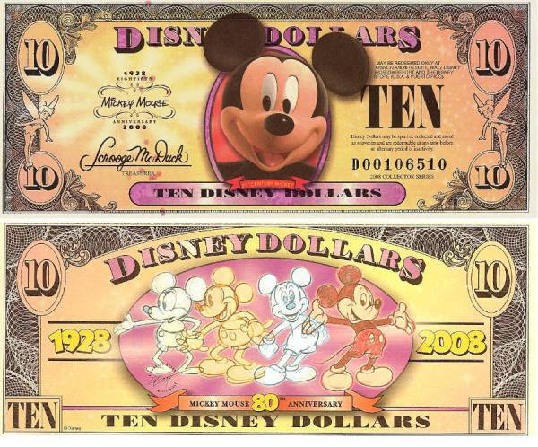 2008 $10 Mickey Circa 2008
