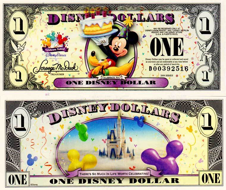 "2009 $1 Pluto and Mickey Mouse holding a Cake  ""Celebrate You"""
