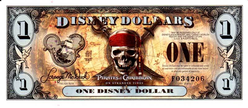 2011 $1 Pirates of the Caribbean: On Stranger Tides Disney Dollar Obverse