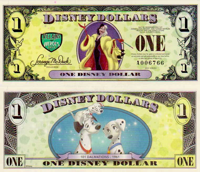 2013 $1 Cruella Deville/Pongo, Perdita, and Pepper - Error Bill