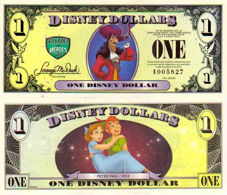 2013 $1 Captain Hook/Peter Pan and Wendy