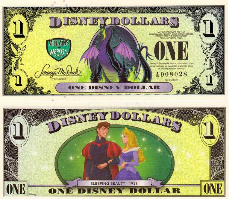 2013 $1 Maleficent as the Dragon/Princess Aurora and Prince Phillip