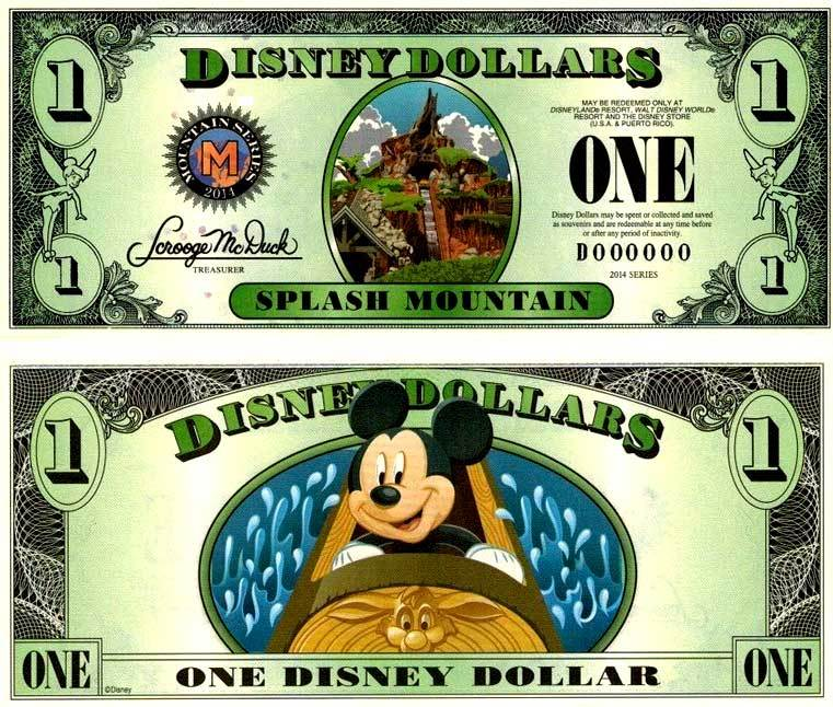 2014 $1 Splash Mountain Disney Dollar