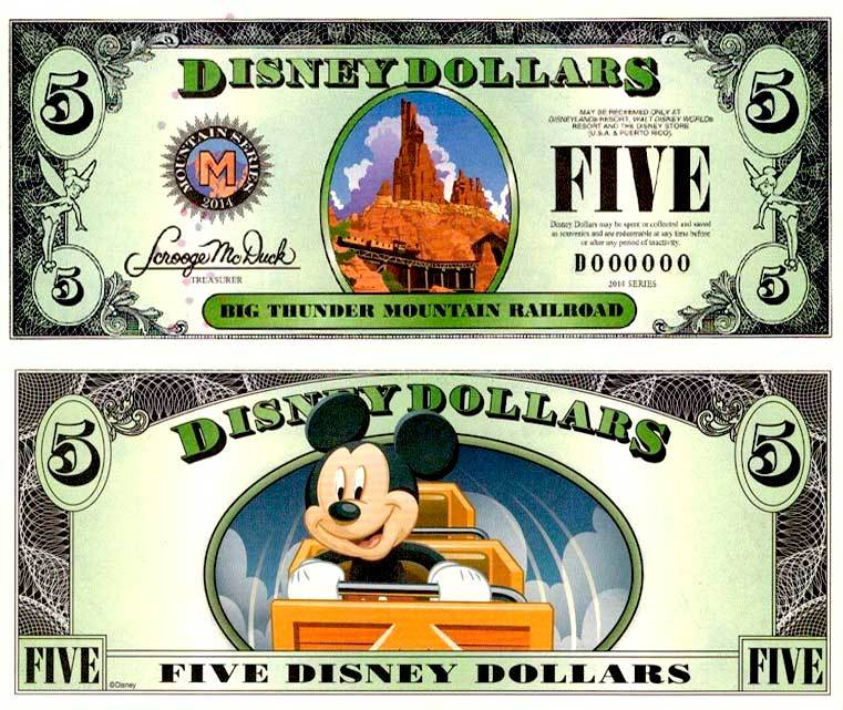 2014 $5 Big Thunder Mountain Disney Dollar