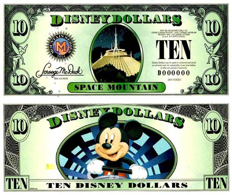 2014 $10 Space Mountain Disney Dollar